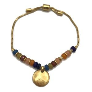 Madewell Multi Colored Bead Disc Charm Gold-Tone Friendship Bracelet